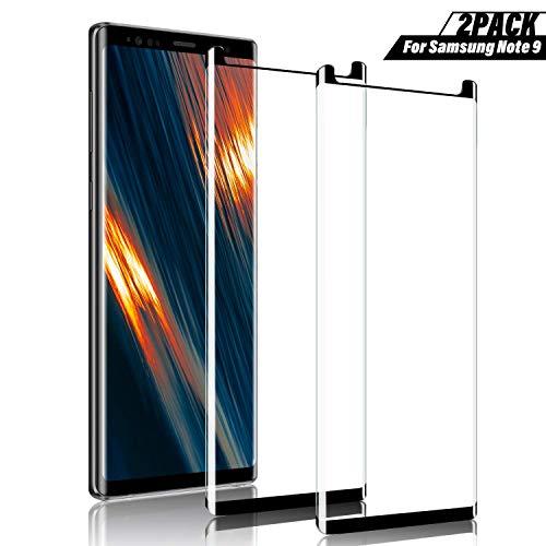 SGIN - Pellicola proteggi schermo per Galaxy Note 9, durezza 9H, infrangibile, senza bolle, antigraffio, anti-impronte, pellicola in vetro temperato per note 9, colore: nero