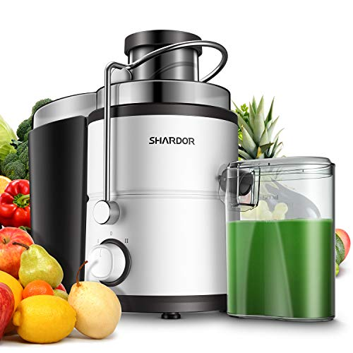 """Juicer, Juice Extractor, SHARDOR Centrifugal juicer with Big Mouth 3"""" Feed Chute, Juicer Machine for Whole Fruits & Vegs, Electric Juicer with Dual Speeds, Easy to Clean, Anti-drip, BPA-Free, White"""