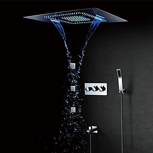 Sistema de ducha termostático LED, lluvia de lujo montado en el techo + rociador + cabezal de ducha en cascada, juego de grifos de ducha con ducha de mano, chorro de cuerpo