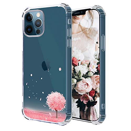 Hepix Compatible with Pink Tree iPhone 12 Pro Case Romantic Clear iPhone 12 Case, Slim Flexible TPU Phone Cover Protective Bumpers, Anti-Scratch Shock Absorption Camera Protection for iPhone 12 Pro/12