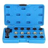 Ladieshow Herramienta de enhebrado, 16Pcs/Set Kit de reparación de roscas de bujía Herramienta de enhebrado de Grifo M14 x 1,25 mm