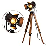 Industrial Tripod Floor Lamp for Living Room Bedroom, Vintage Standing Reading Lamp with Metal Wood Leg for Studio,Study Room and Office, Black (Blub not Included))