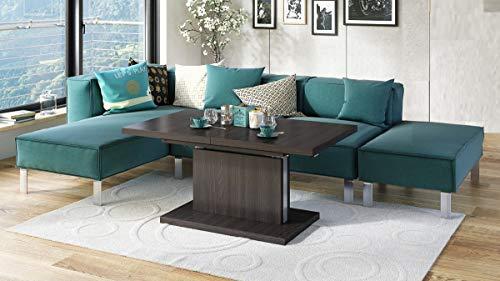 Mazzoni Design Couchtisch Tisch Aston stufenlos höhenverstellbar ausziehbar 120 bis 200cm Esstisch (Walnuss Wenge)