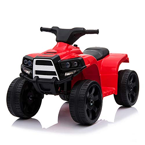 VALUE BOX Kids ATV 4 Wheeler Ride On Quad 6V Battery Powered Electric ATV Realistic Toy Car for Boys Girls Quad with LED Headlight, Forward Reverse Gears, Horn, Red
