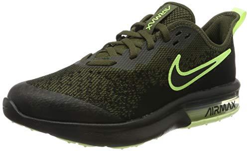 Nike Jungen Air Max Sequent 4 Sneaker, Grün (Cargo Khaki/Black-Barely Volt 300), 37.5 EU
