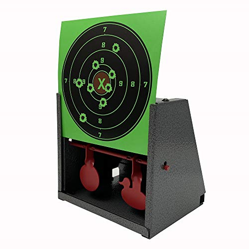 14X14 cm Air Gun Pellet Trap BB Trap Target Trap with Spinner Target Inside Comes with 40 Pcs Splatter Sighting-in Targets