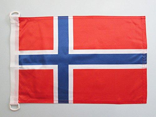 AZ FLAG Bandera Nautica de Noruega 45x30cm - Pabellón de conveniencia Noruega 30 x 45 cm Anillos