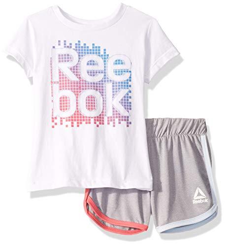 Reebok - Playera Deportiva de Manga Corta y pantalón Corto para niña, Rainbow Grid Set Color Blanco, 4
