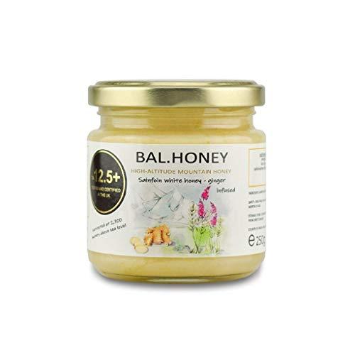 BAL.Honey Witte honing actief 12.5 + Gember doordrenkt 250 Gram Glazen pot | Rauwe natuurlijke ongefilterde ongepasteuriseerde pure