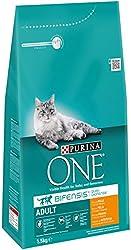 Purina One - Gato Adulto rico en Pollo y Cereales Integrales, 1,5 Kg