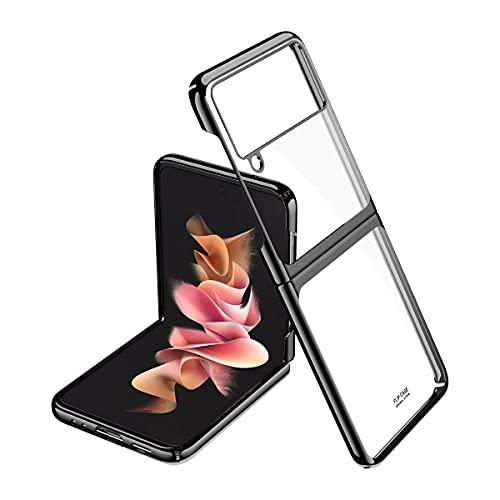 ANLYGOLD Cover per Samsung Galaxy Z Flip 3 5G, Ultra Sottile, Antiscivolo AntiGraffio Hard PC trasparente Custodia per Samsung Galaxy Z Flip 3 (Clear-Black)