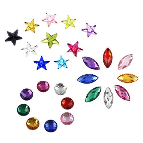 Healifty 300 Piezas de Piedras Preciosas Acrílicas Diamantes de Imitación Planos Cristales Gemas Del Tesoro Adornos para Dispersiones de Mesa Artesanías Joyas