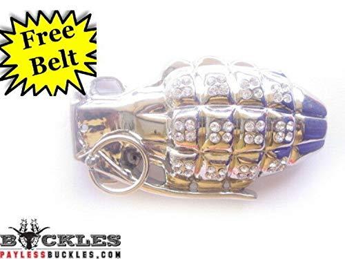 Rhinestone Grenade Belt Buckle #1011 - Free Leather Belt Included