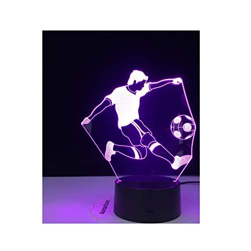 TIDRT Lámpara De Mesa Led 3D, Fútbol De 7 Colores para Jugar Al Fútbol para Luces De Decoración del Hogar, Ilusión Visual Increíble, Regalo De Cumpleaños para Fiesta De Niño Y Niña