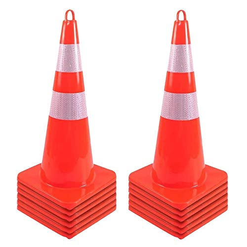 Traffic Cones Safety Cones - 12pcs Traffic Cones 28 inch PVC Orange Cones Parking Cones for Obstacle Course Parking Barrier (28 inch - 12 Items)
