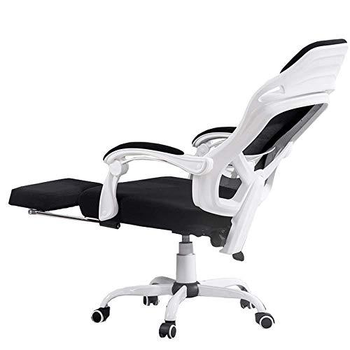 JIEER-C Slaapkamers Reclining Computer Chair Kan kantelen 150° Mesh Swivel Computer Conference/Home gevoerde bureaustoel Comfort Met voetsteun Lager gewicht 130kg (Kleur : Zwart) Kleur: wit