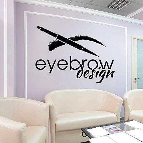 Etiqueta de la pared del diseño de la ceja Logotipo del salón de belleza Etiqueta engomada del vinilo del art déco de la ceja