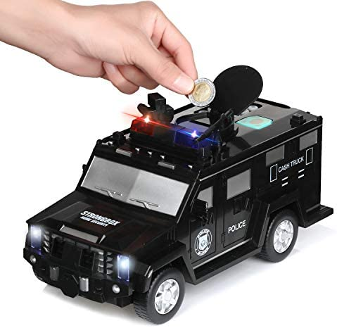 DRESSPLUS Kids Money Bank Electronic Piggy Banks Cool Armored Car Bank Password Coin Bank with product image