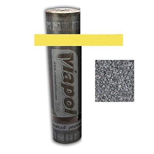 Guaina Bituminosa Poliestere Ardesiata Impermeabilizzante - ROTOLO DA 10 METRI - 4,5 kg/mq alta prestazione - Colore Grigio con scaglie di ardesia