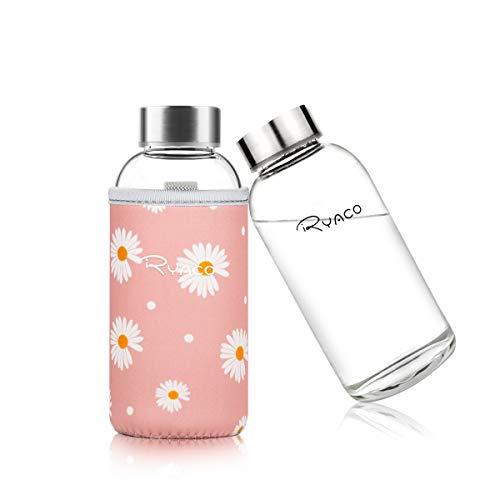 Ryaco Glasflasche Trinkflasche Classic Tragbare 360ml BPA-frei für unterwegs Sportflasche Glas Wasserflasche zum Mitnehmen von kalten Heiß Getränken mit Neopren Tasche und Schwammbürste