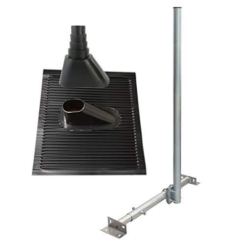 PremiumX Basic X120-48 SAT TV Dachsparrenhalter 120cm Mast 48mm Dach-Sparren-Halterung für Satelliten-Antenne Satellitenschüssel | ALU-Ziegel Manschette schwarz