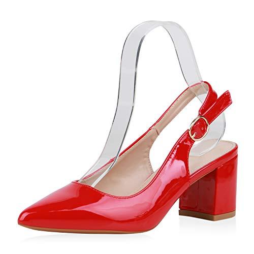 SCARPE VITA Damen Pumps Slingpumps Klassische Schuhe Blockabsatz Spitze Absatzschuhe 188319 Rot Lack 36