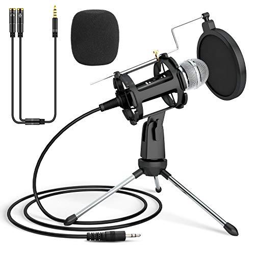 PEYOU Micrófono PC, Micrófono de Condensador con Trípode Portátil, 3,5 mm Jack con Cable Divisor para PC, Tableta, Teléfono, Filtro Antipop y cubierta de Espuma para Grabar, Podcast, Youtube, Karaoke