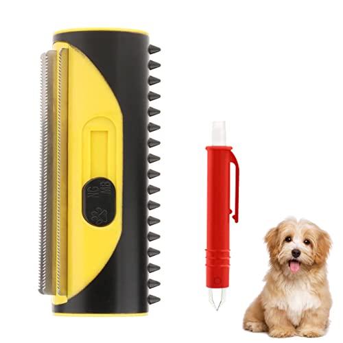 3-in-1 Hundebürste Katzenbürste, Hundehaare entfernen, Fellbürste hund, Unterfellbürste hunde, Einfache Handhabung, Geeignet für Alle Haarigen Haustiere (Gelb)