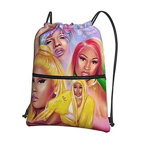 Nic_Ki Mi_Naj Drawstring Backpack Bag For Men Women Waterproof With Zipper Pocket For Gym Shopping Sport Yoga