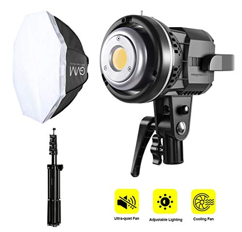 GVM 80W LED Video Light, Photography Studio Lighting Kit, Softbox Lighting Kit with Bowens Mount, Tripod Stand, 22 inches Softbox, CRI97+ 5600K Continuous Output Lighting for YouTube, Video, Wedding