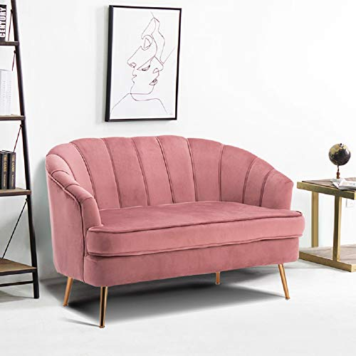 Warmiehomy Comfy Velvet 2 Seater Sofa 2 Tub Chair/Sofa Seating Double Couch Lounge Living Room Furniture (Grey Pink)