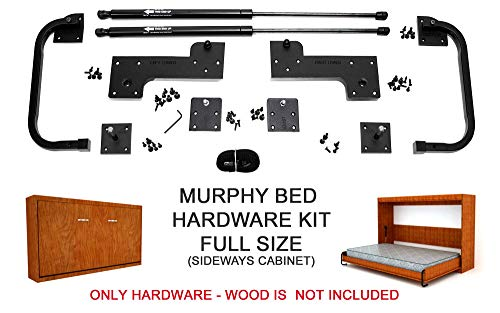 Murphy Bed Full Size Hardware Kit - DIY Wood Frame Folding Cabinet Wall Bed for Guestroom Easy to Build, Made in USA, (Full - Horizontal)
