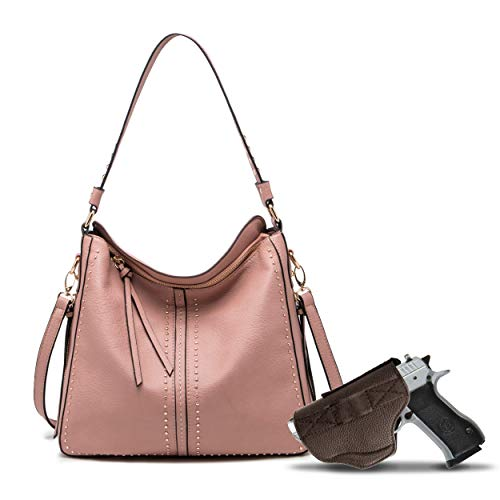 Pink Large Concealed Carry Hobo Purse for Women Studded Leather Crossbody Shoulder Bag With Gun Holster - Conceal Weapon Birthday balsas Gift MWC-G1001SMPK
