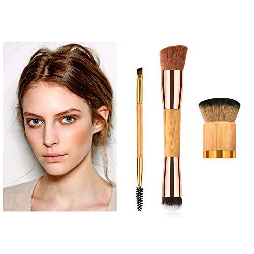 MEIYY Pinceau de maquillage New Fashion 3Pcs Bamboo Brushes Cosmetic Makeup Foundation Powder Eyeshadow Brush Double End Drop Shipping