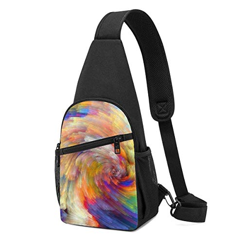 DJNGN Bolso bandolera liviano Hermosos colores del arco iris Paquete de pecho para hombres Bolso informal de uso diario para exteriores Parques Compras Viajes