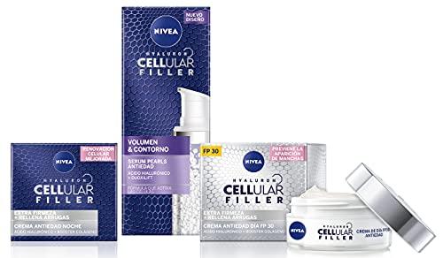NIVEA Hyaluron Cellular Filler Cuidado de Noche + Hyaluron Cellular Filler + Volumen y Contorno Serum Pearls + Hyaluron Cellular Filler Cuidado de Día FP30