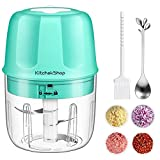 Electric Garlic Chopper, Portable Cordless Mini Food Processor, Rechargeable Vegetable Chopper Blender for Nuts Chili Onion Minced Meat and Spices BPA-Free(Green)
