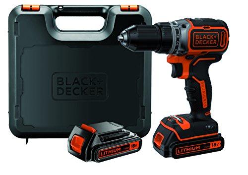 Black+Decker Akku-Bohrschrauber, Bohrmaschine (18 V 1.5Ah, bürstenloses 2-Gang-Getriebe, LED-Arbeitslicht) 1 Stück, BL186KB