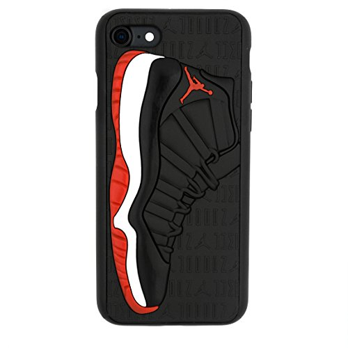 iPhone 8 4.7' Case, Jordan 11s 3D Textured Sneaker Shockproof Protective Grippy Case for Apple iPhone 8 (Bred 11s)