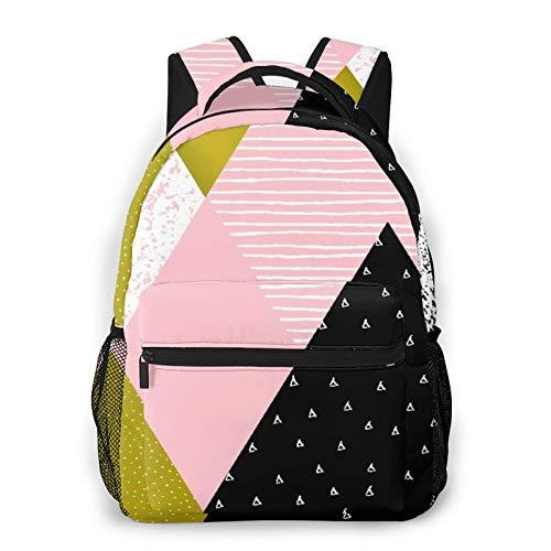 MEJX Mochila Paquete de Almacenamiento,Composición geométrica abstracta en oro blanco negro y rosa pastel,Casual Bolsa de Estudiantes de la Escuela Mochila Portátil de Viaje