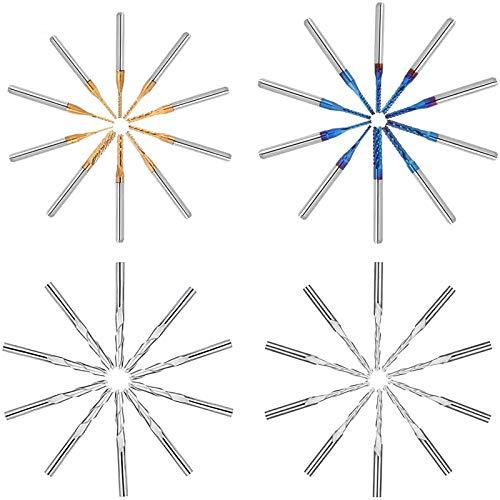 Fresas Grabado CNC Mcwdoit 40 PCS, Fresas De Fresado En Espiral De Vástago Espiral De Vástago De 1/8