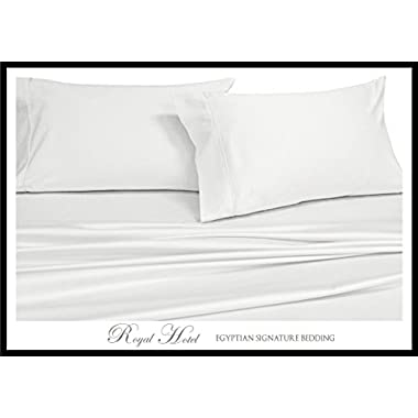 Royal Hotel's Solid White 1000-Thread-Count Super-Deep 4pc King Bed Sheet Set 100-Percent Cotton, Sateen Solid, Extra Deep Pocket