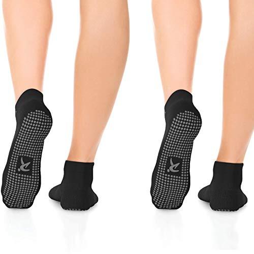 Rymora Non Slip Grip Socks for Women & Men, Elderly - Black, Medium, 2...