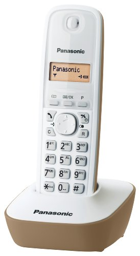 Panasonic KX-TG1611JTJ Telefono Cordless DECT Singolo con Base Montabile a Parete, Bianco/Beige