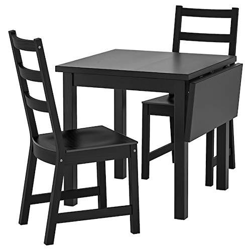 NORDVIKEN - Mesa y 2 sillas, color negro, 74/104 x 74 cm, resistente y fácil de cuidar, conjunto de comedor de hasta 2 plazas, mesas y escritorios, muebles ecológicos