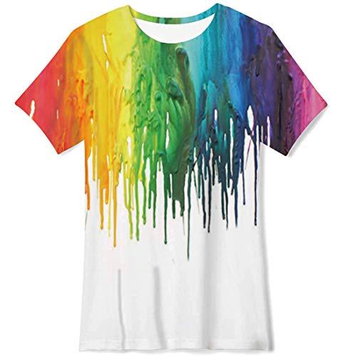 NEWISTAR Camiseta de verano con diseño gráfico en 3D para niños de 6 a 13 años, B-pintura, 6-8 Años