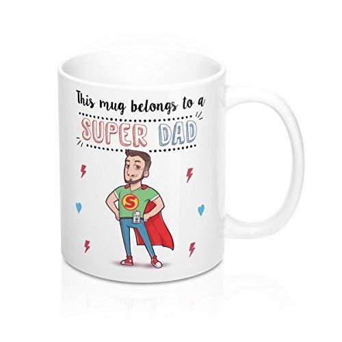 Queen54ferna Tazas para papá Esta taza pertenece a un súper papá desayuno 11 oz taza de cerámica café té regalo original regalo 110 oz