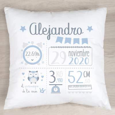 Verimpressió Cojín personalizado para recién nacido con datos de nacimiento 40x40cm | Relleno incluido | Fabricado en España (Azul)