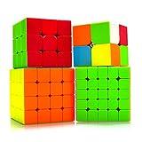 Maomaoyu Speed Cube Set 2x2+3x3x3+4x4x4+5x5x5 4 Pack Puzzle Twist Magic Cube sans Autocollant Cube de Vitesse Magique Cadeau de Vacances pour Enfants Adultes
