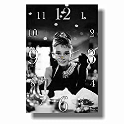 ART TIME PRODUCTION Audrey Hepburn 16'' x 11'' Handmade Wall Clock - Get Unique décor for Home or Office – Best Gift Ideas for Kids, Friends, Parents and Your Soul Mates